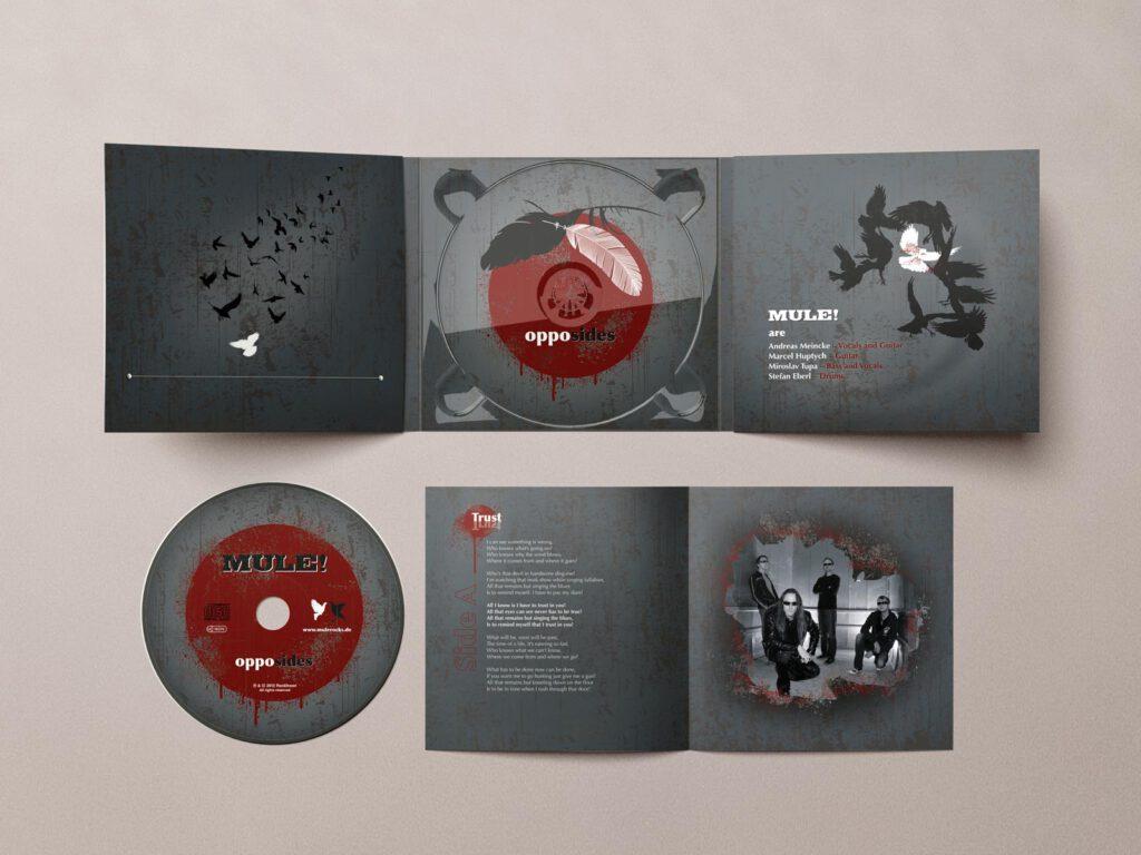 Mule!, opposides, Booklet, CD-Label, CD Cover, Cover Artwork, Album Cover Design, Ansicht von oben