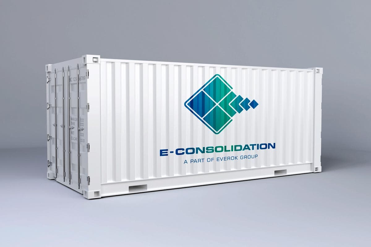 E-Consolidation, Container, Beschriftung, Branding