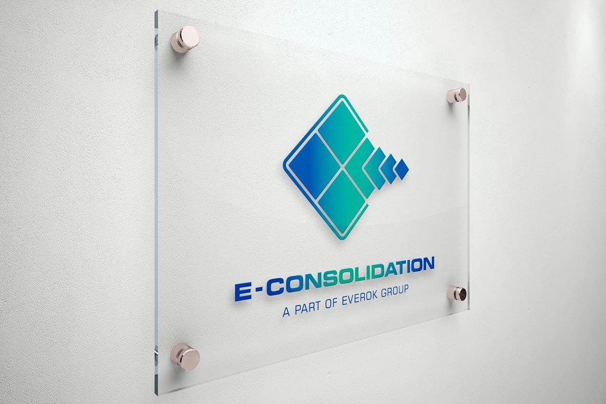 E-Consolidation, Firmenschild, Beschilderung, Corporate Design