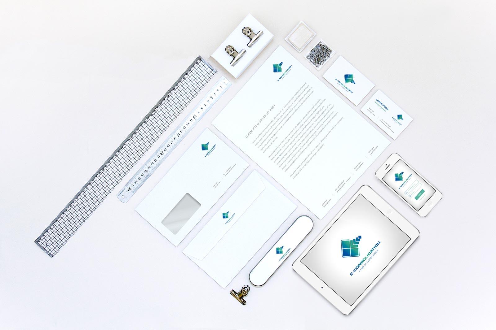 E-Consolidation, Stationary, Werbemittel, Corporate Design