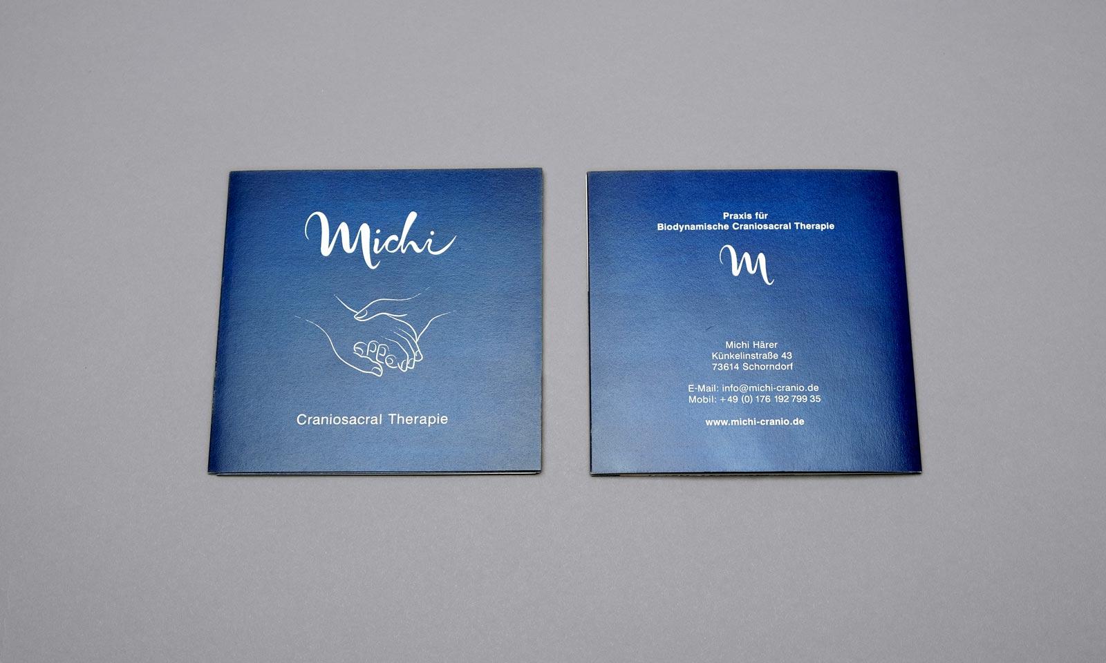 Michi, Broschüre, Geschäftsausstattung, Corporate Design, Vorder- und Rückseite