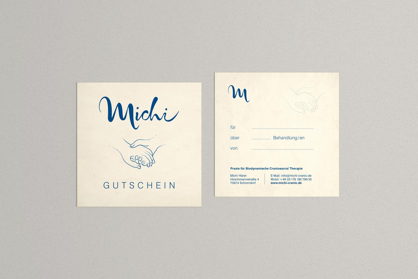 Michi, Gutschein, Geschäftsausstattung, Corporate Design