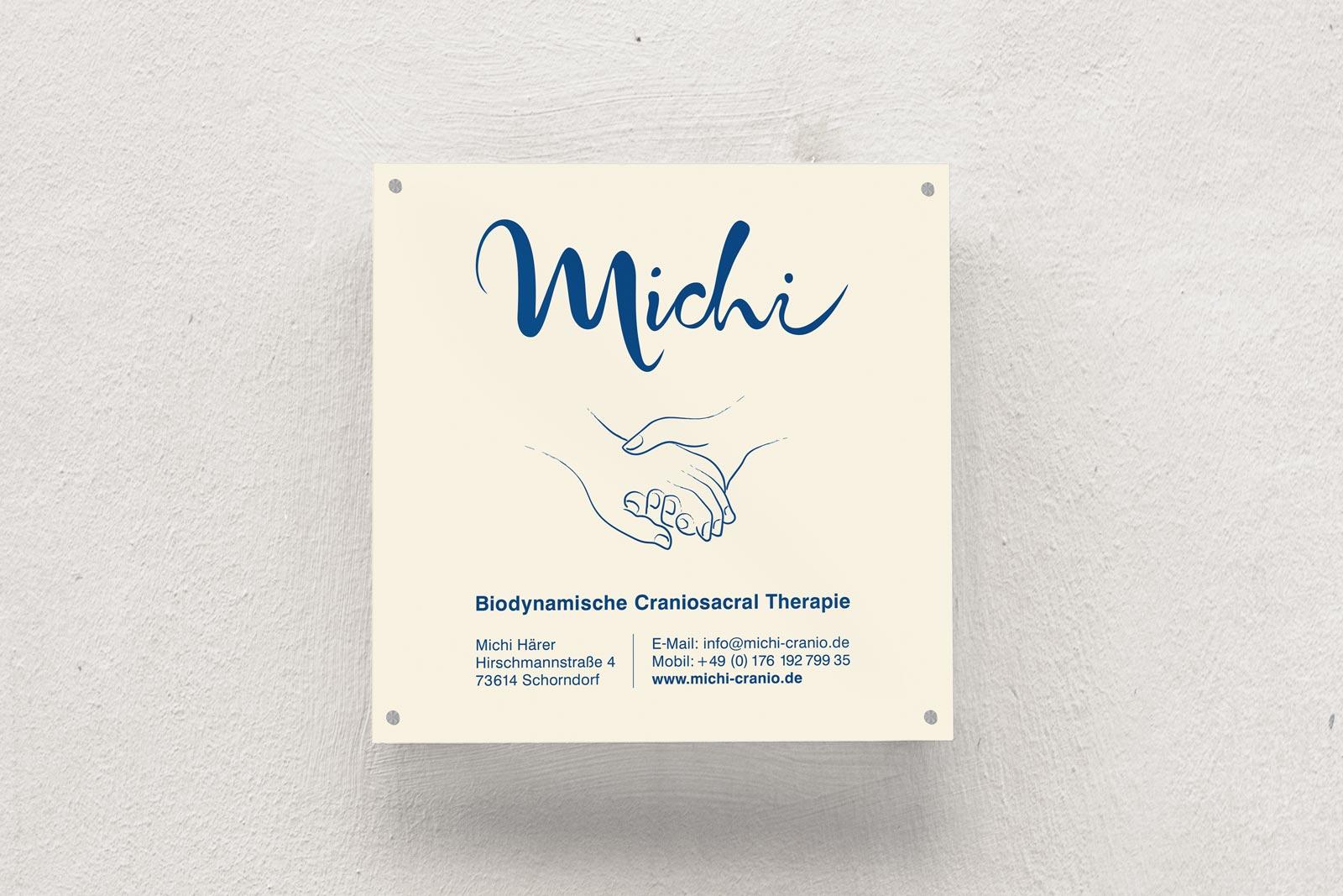 Michi, Craniosacral Therapie, Schild, Praxisschild, Corporate Design