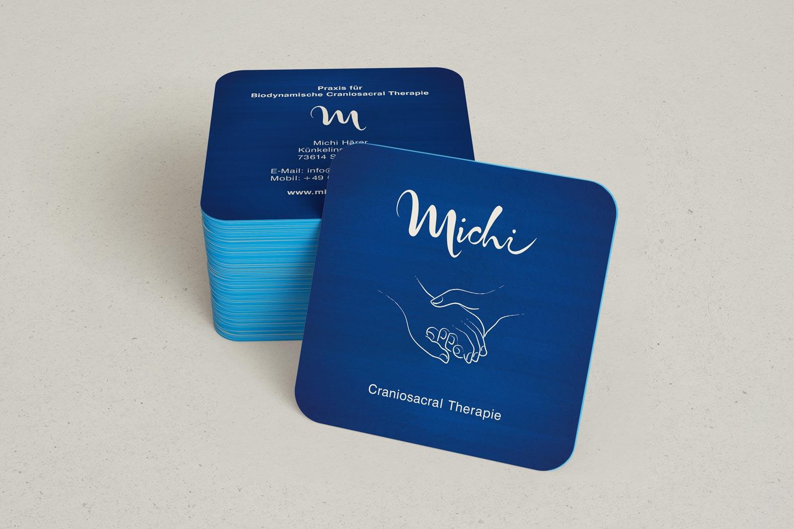 Michi, Craniosacral Therapie, Visitenkarte, Corporate Design, Vorderseite, Stapel