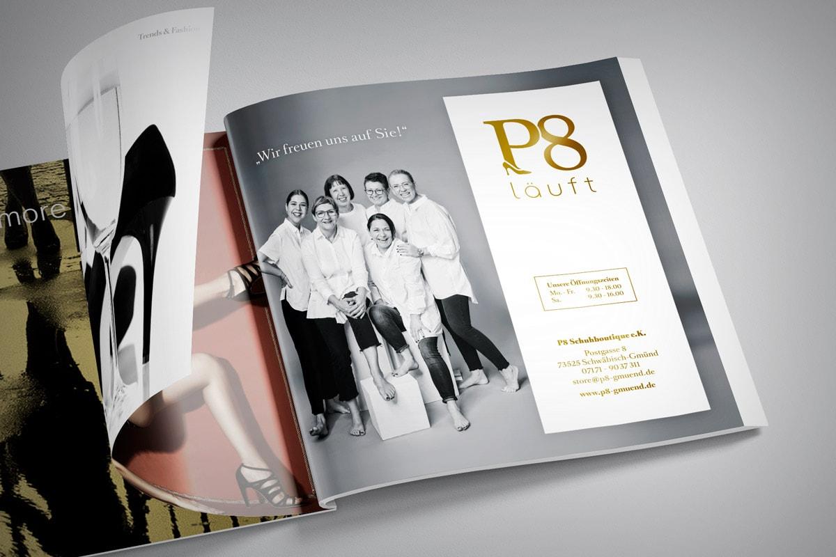 P8, Print, Anzeige, Zeitschrift, Quadrat