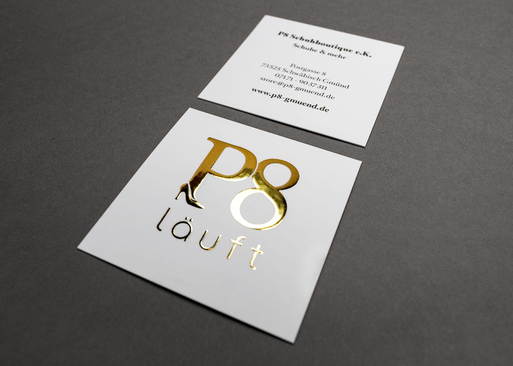 P8 Vistenkarte, VS Heißfolienprägung Gold + Rückseite 4C