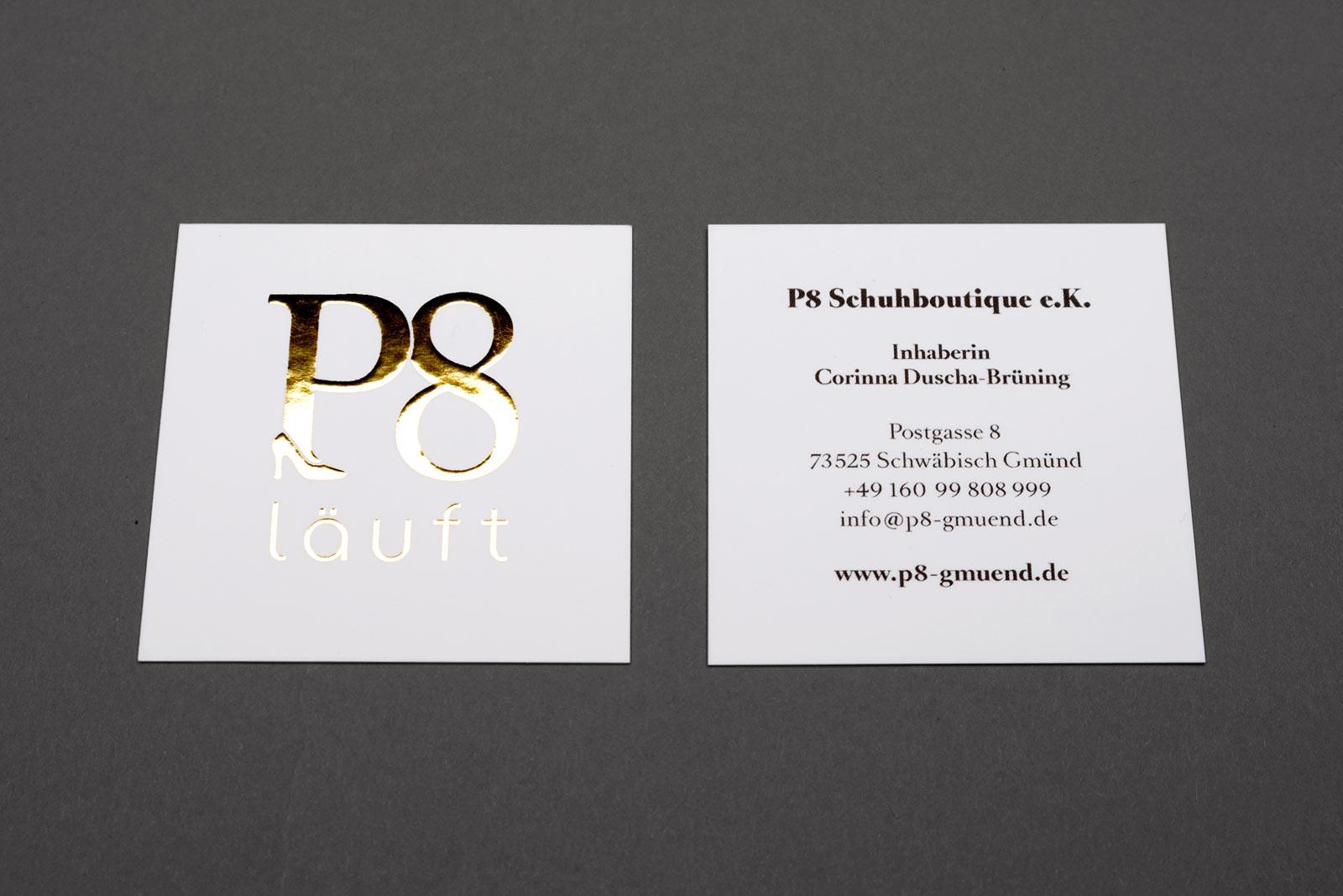 P8 Vistenkarte, Heißfolienprägung Gold + Rückseite 4C