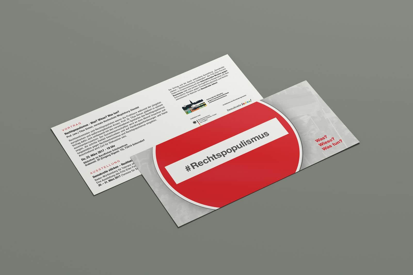 #Rechtspopulismus, Flyer, Werbemittel, Print, Printmedien, Ansicht 1