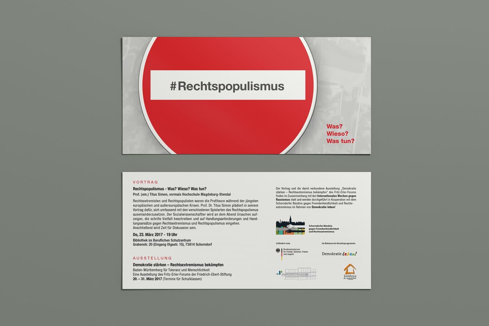 #Rechtspopulismus, Flyer, Werbemittel, Print, Printmedien, Ansicht 2