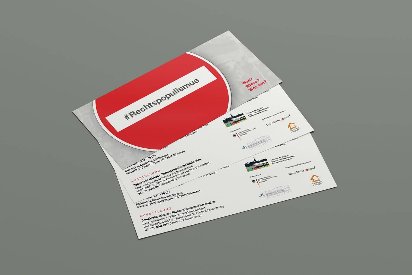 #Rechtspopulismus, Flyer, Werbemittel, Print, Printmedien, Ansicht 3