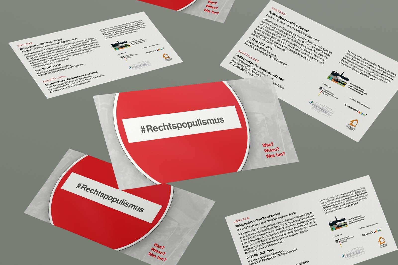 #Rechtspopulismus, Flyer, Werbemittel, Print, Printmedien, Ansicht 4