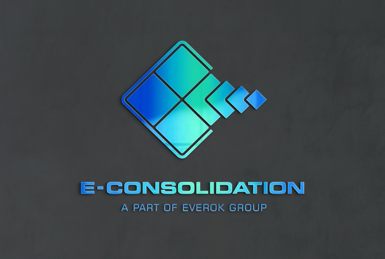 E-Consolidation, Logo, Logo Design, Corporate Design, Fond Grau