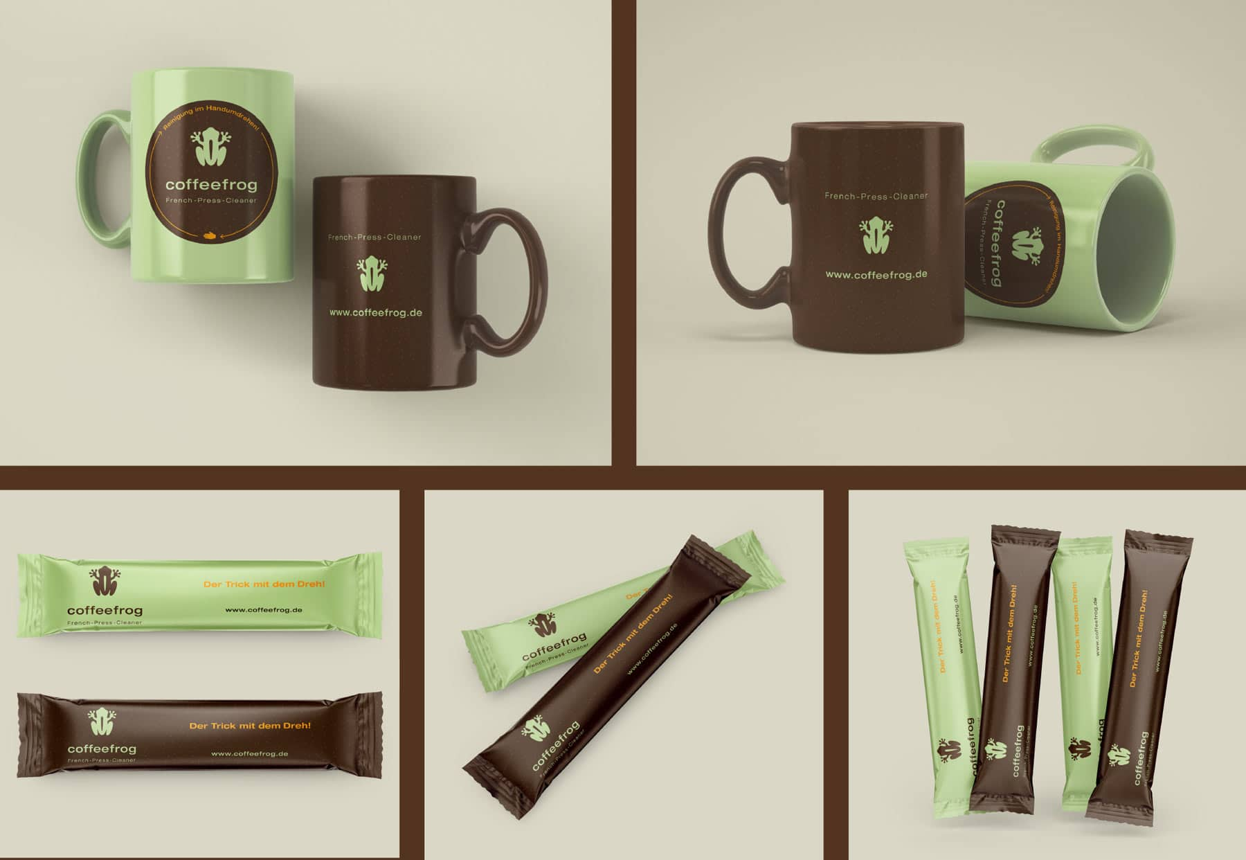 Coffeefrog, Kaffeebecher, Zuckersticks, Collage Werbemittel, Werbung