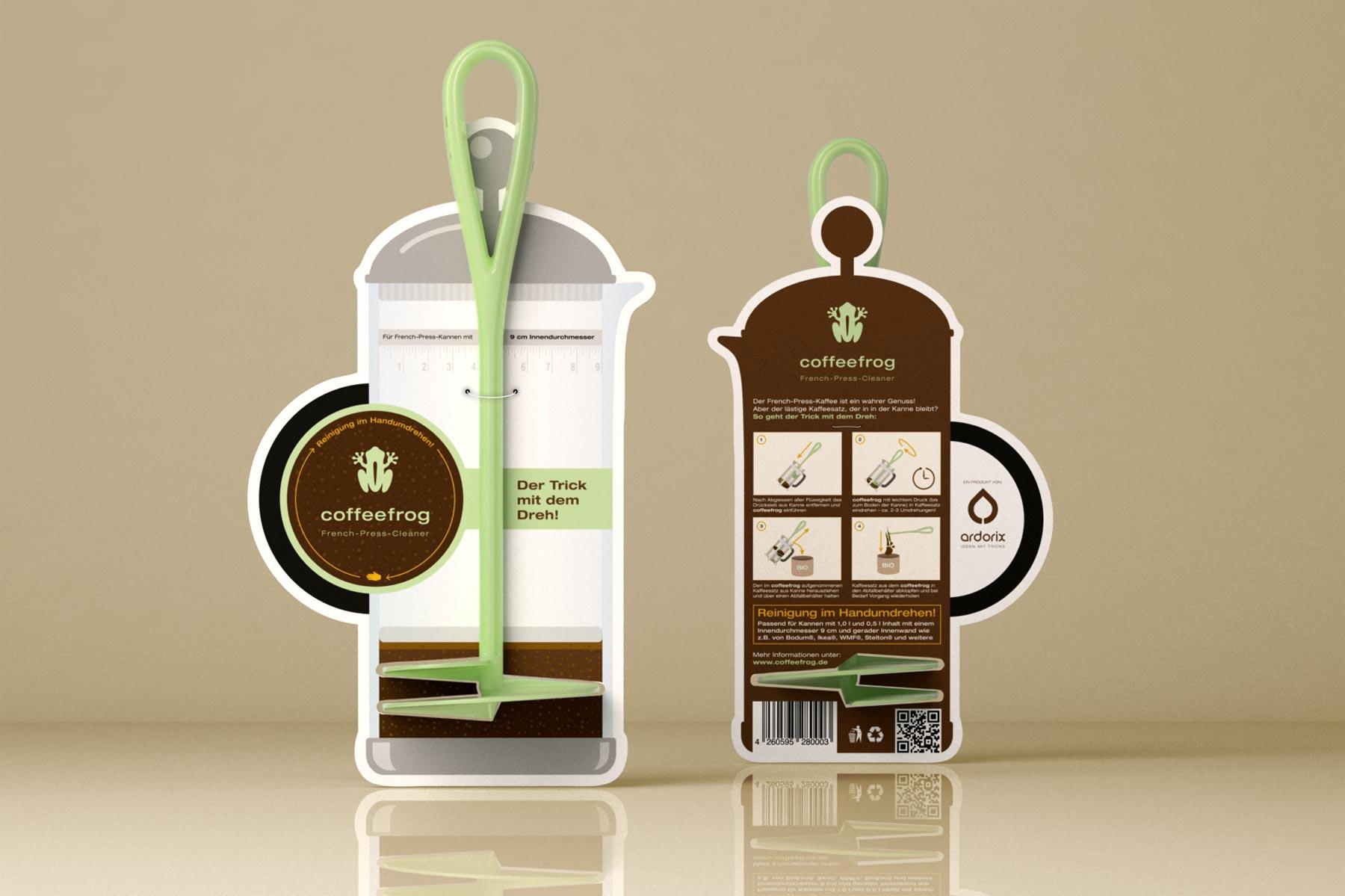 Coffeefrog, Produktverpackung, Packaging, Verpackungsdesign, mit Produkt
