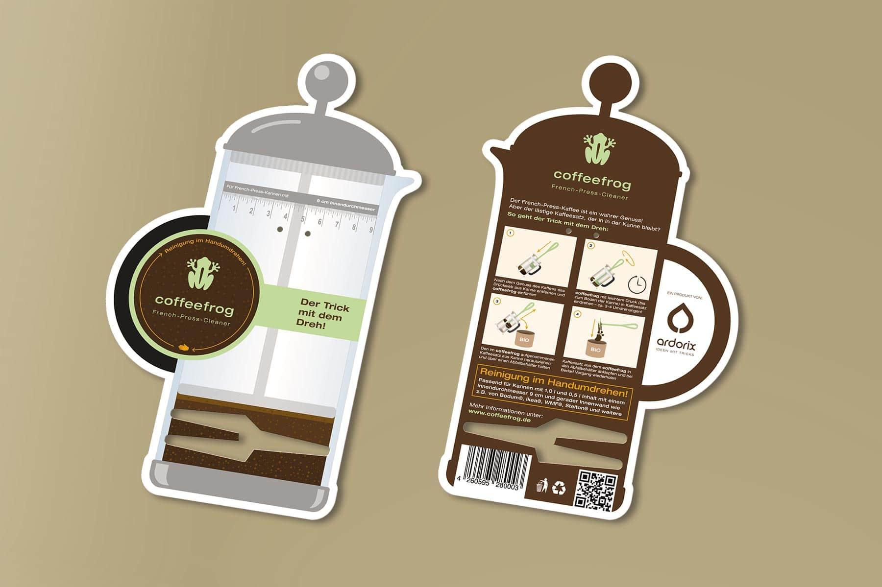 Coffeefrog, Produktverpackung, Packaging, Verpackungsdesign, Vorder- und Rückseite, ohne Produkt