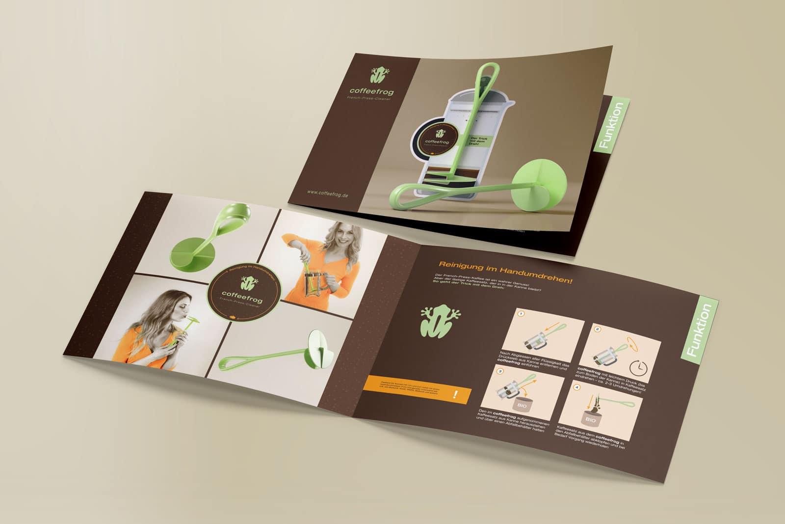 Coffeefrog, Flyer, Klappkarte, DIN A6 quer, Werbemittel, Werbung
