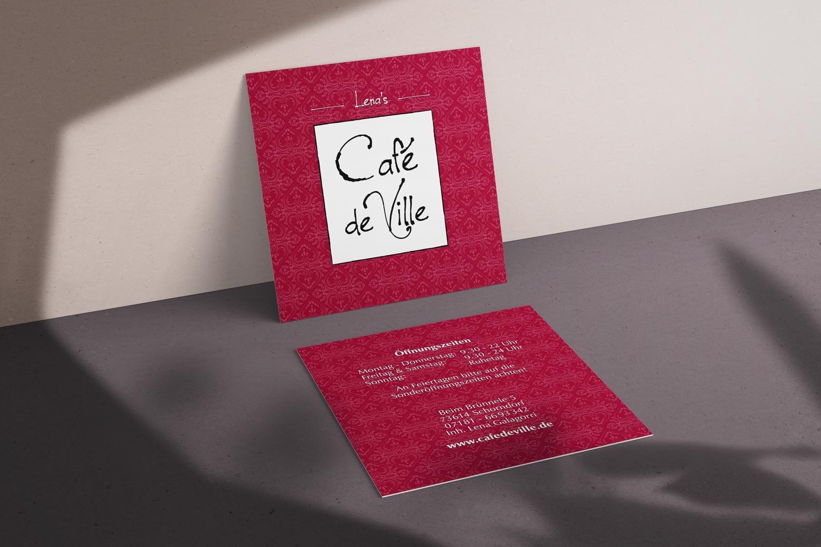 Café de Ville, Visitenkarte, Geschäftsausstattung, VS-RS_TN