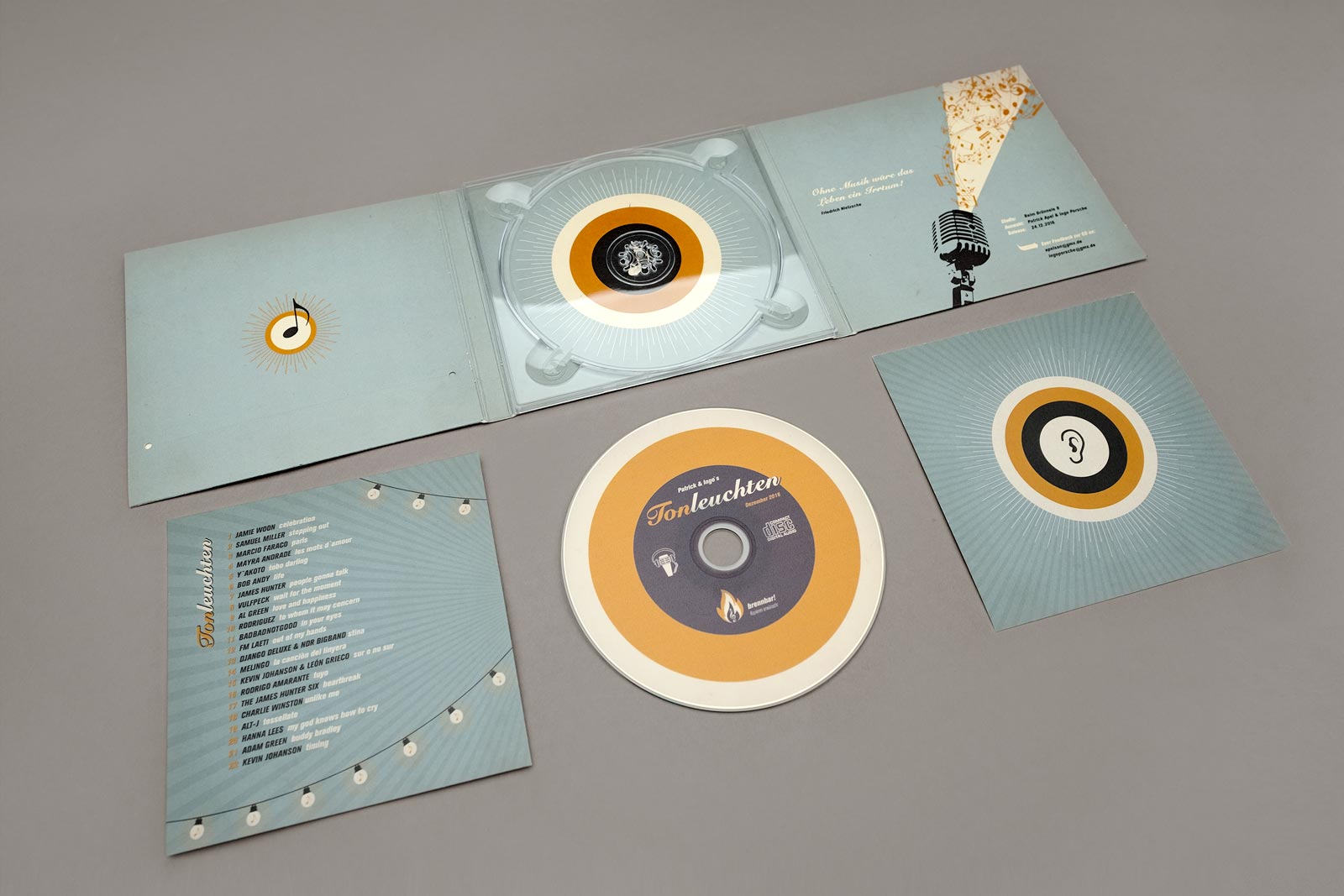 Tonleuchten, Compilation, CD Cover, Booklet, CD-Label, Cover Artwork, Innenansicht, Arrangement