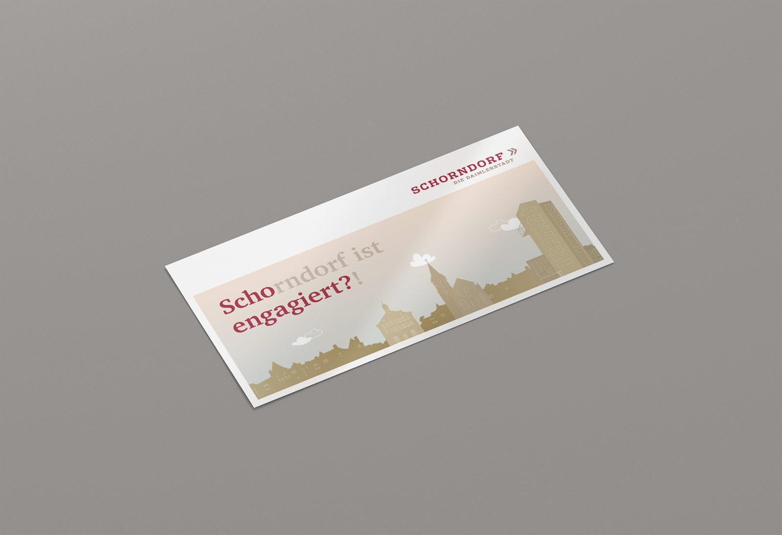 Scho-engagiert, Maxi-Postkarte, Werbemittel, Stadt Schorndorf, Vorderseite Perspektive