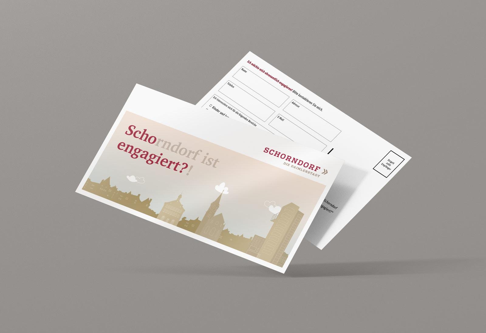 Scho-engagiert, Maxi-Postkarte, Werbemittel, Stadt Schorndorf, Vorder- und Rückseite
