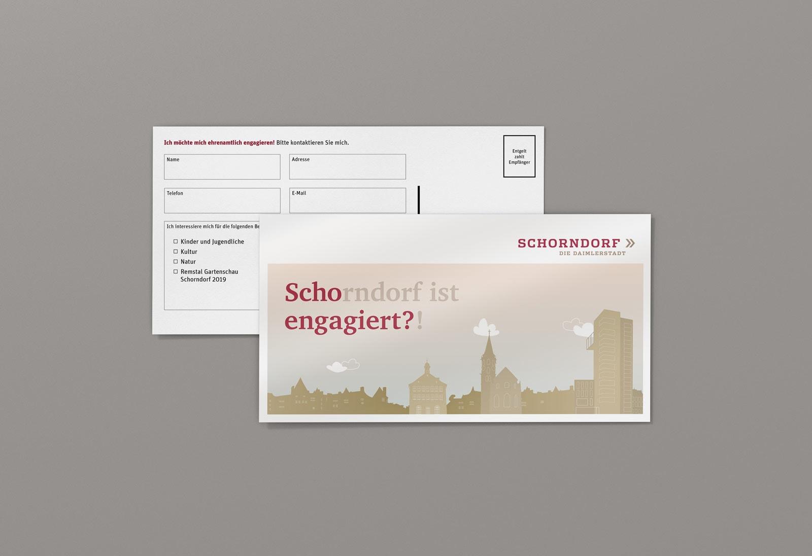 Scho-engagiert, Maxi-Postkarte, Werbemittel, Stadt Schorndorf, Vorder- und Rückseite gerade