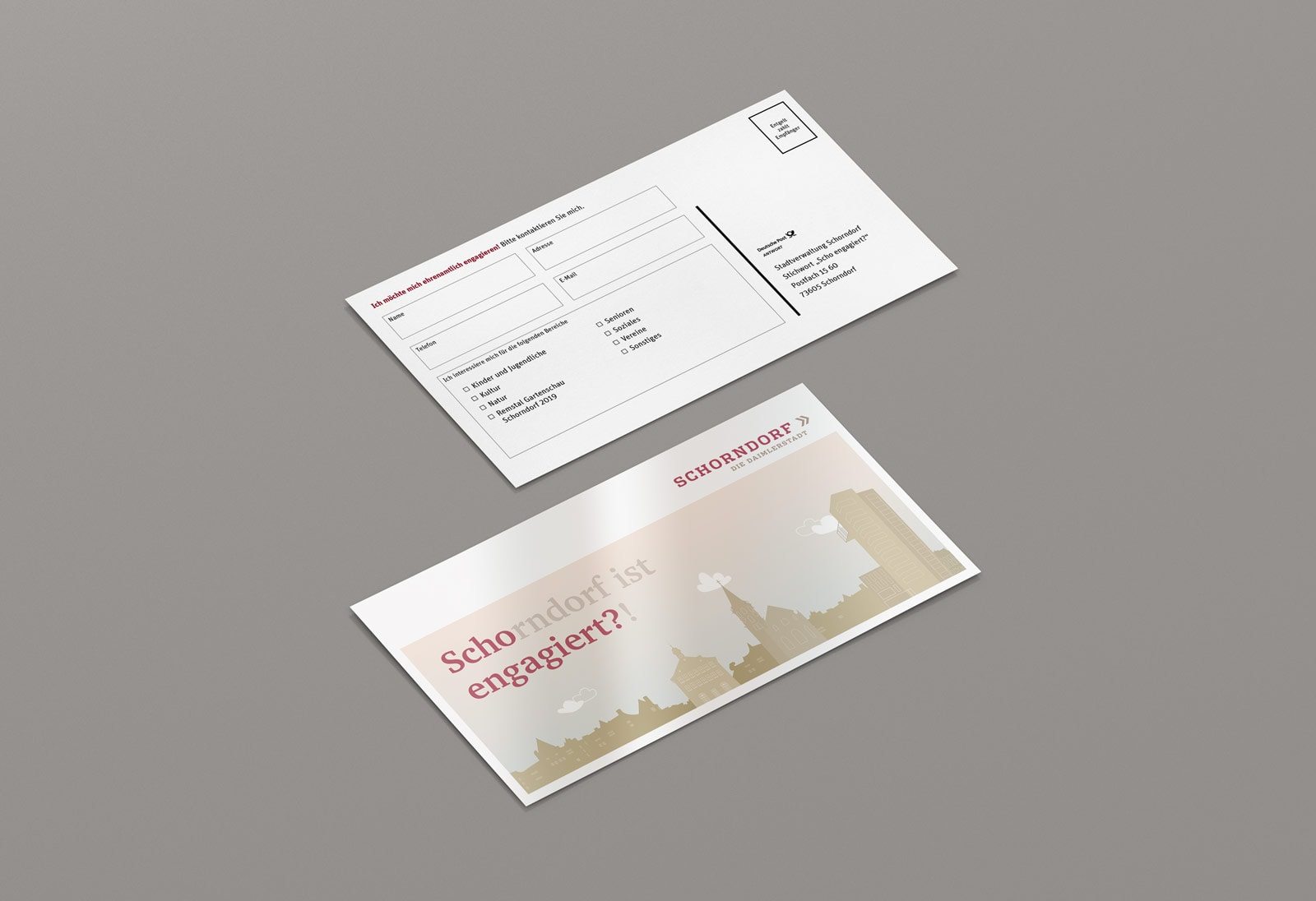 Scho-engagiert, Maxi-Postkarte, Werbemittel, Stadt Schorndorf, Vorder- und Rückseite 2