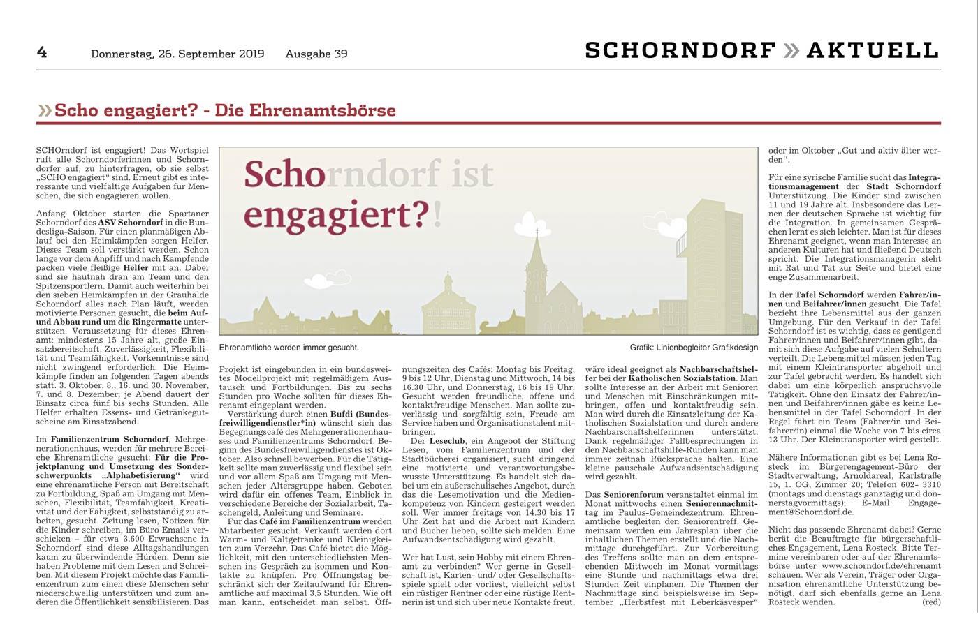Scho-engagiert, Kampagne, Veröffentlichung, Schorndorfer Zeitung