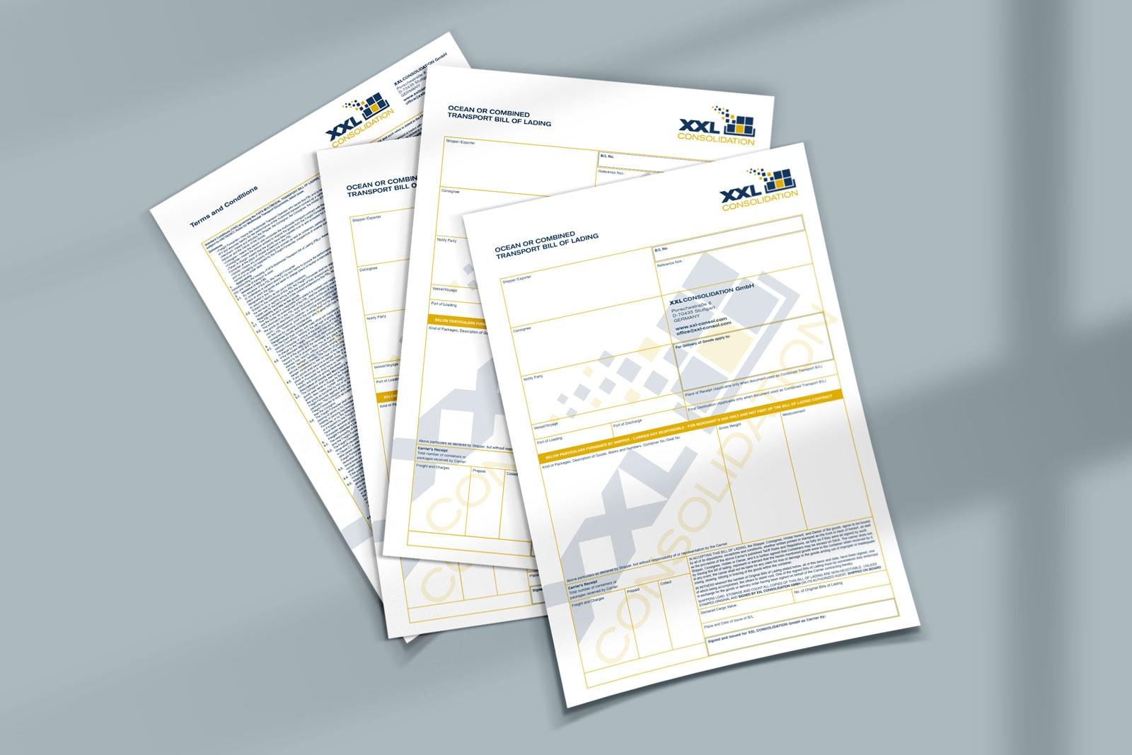 XXL Consolidation, Geschäftspapiere, Corporate Design