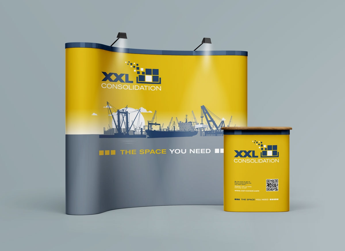 XXL Consolidation, Visualisierung, Messestand, Kampagne, Werbemittel