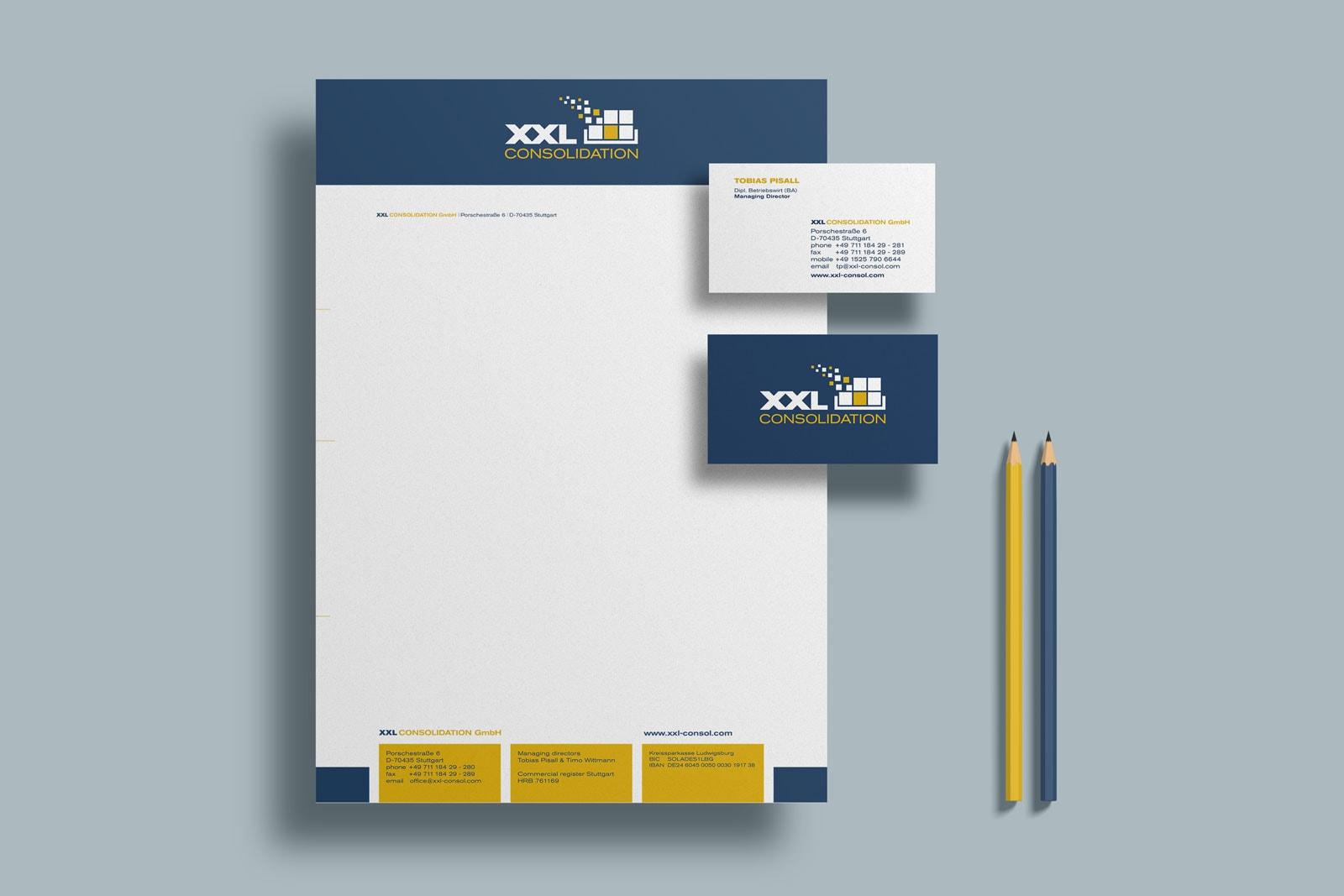 XXL Consolidation, Briefpapier, Visitenkarte, Geschäftsausstattung, Corporate Design
