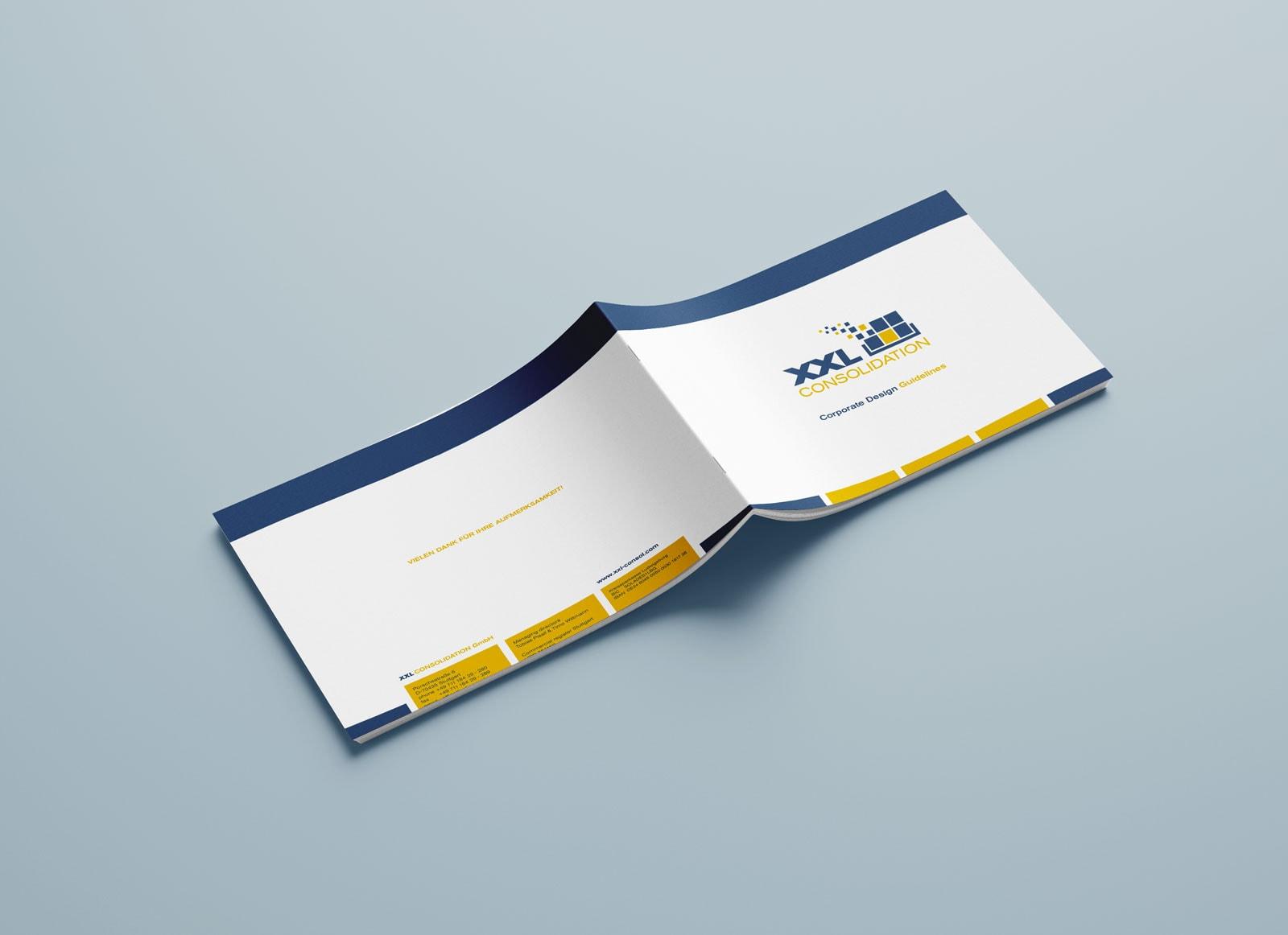 XXL Consolidation, Corporate Design Guide, Styleguide, Vorder- und Rückseite