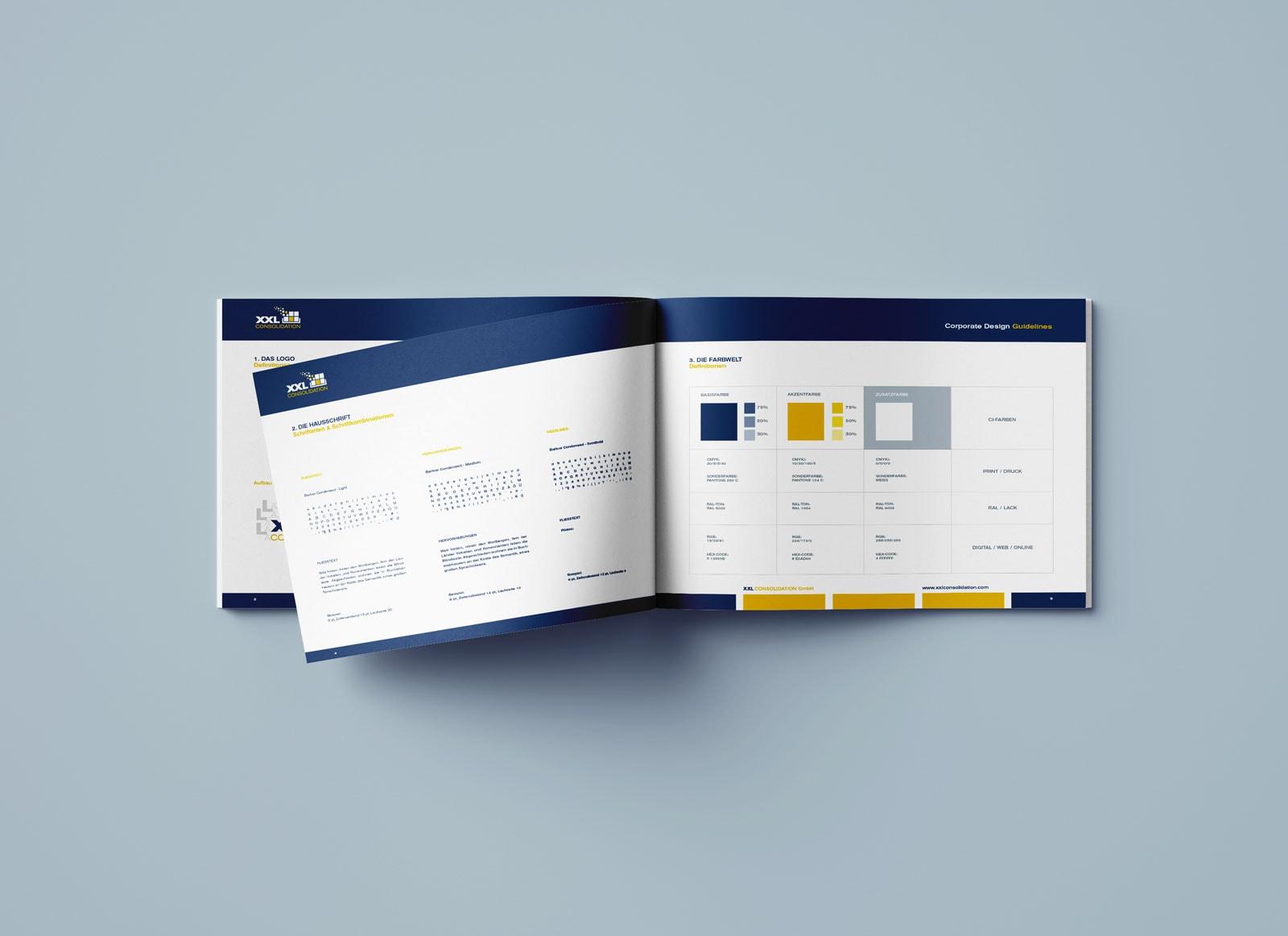 XXL Consolidation, Corporate Design Guide, Styleguide, Inhalt-4
