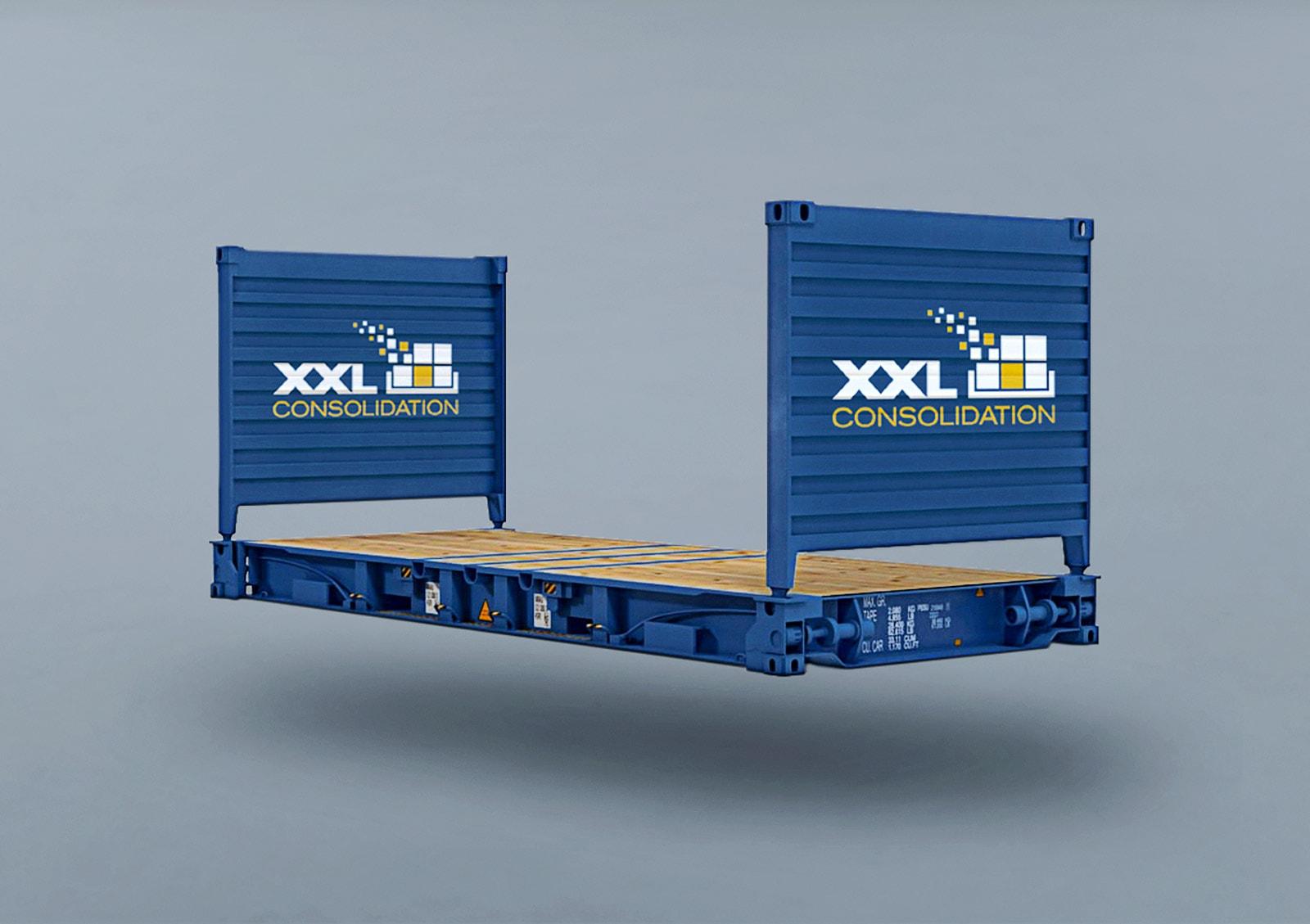 XXL Consolidation, Flat Rack, Beschriftung, Branding, Corporate Design