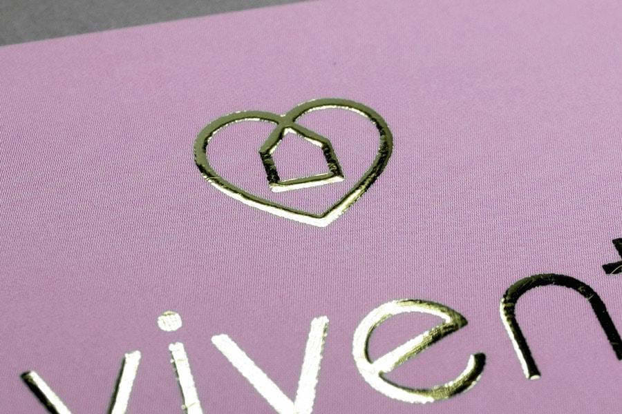Vivent, Vistenkarte, Heißfolienprägung Gold, Detail 1