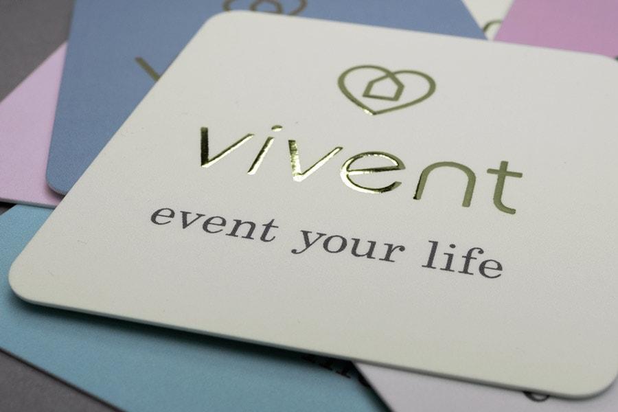 Vivent, Vistenkarte, Heißfolienprägung Gold, Detail 2