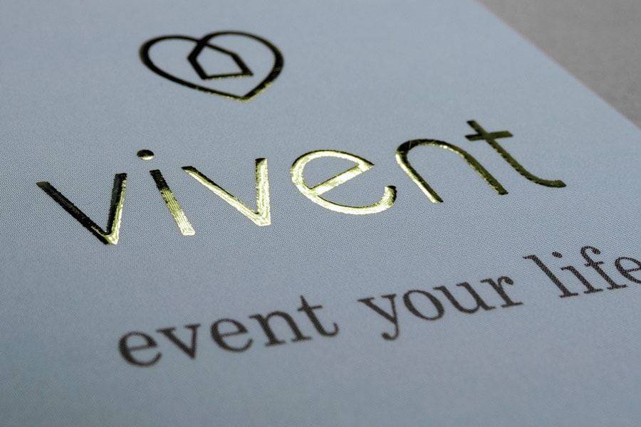 Vivent, Vistenkarte, Heißfolienprägung Gold, Detail 3