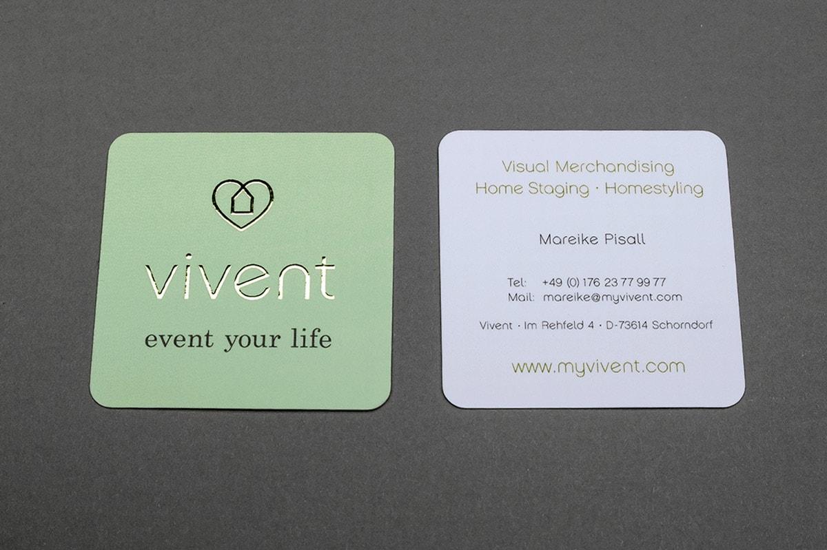 Vivent, Vistenkarte, Vorderseite Heißfolienprägung Gold