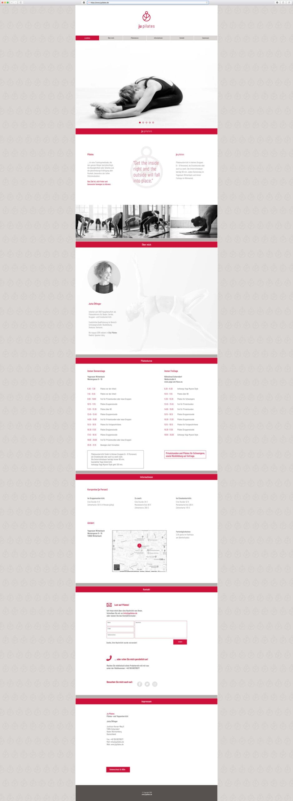 Ju Pilates Homepage