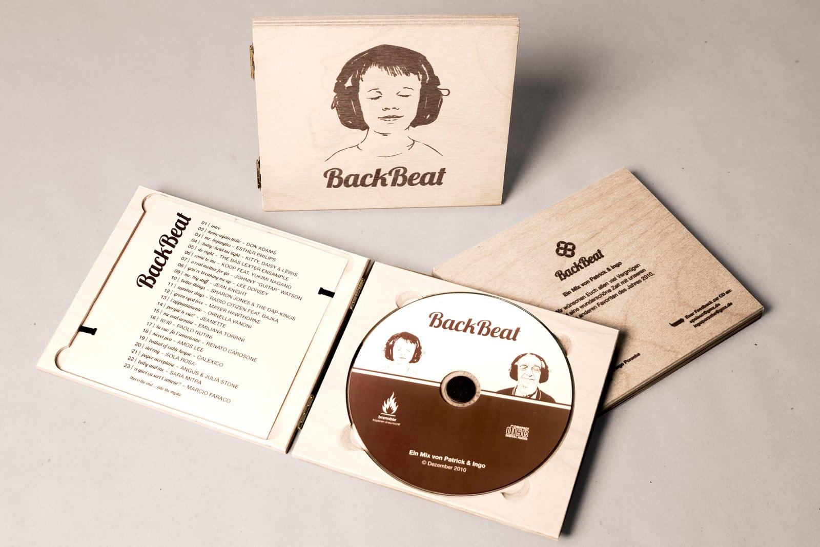 BackBeat, Musik Compilation, Booklet, CD-Label, CD Cover, CD Holzhülle, Illustration, Cover Artwork, Arrangement
